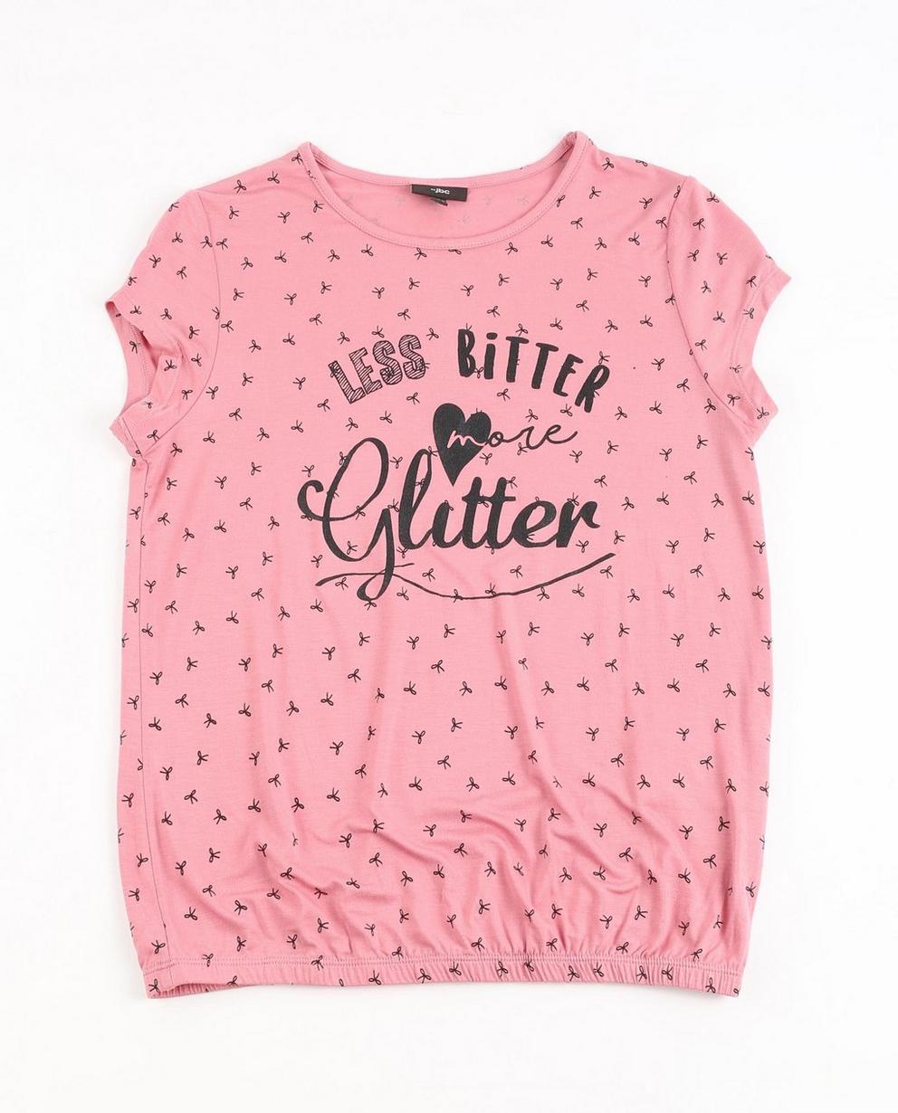 Roze T-shirt - met opschrift en strikjesprint - JBC